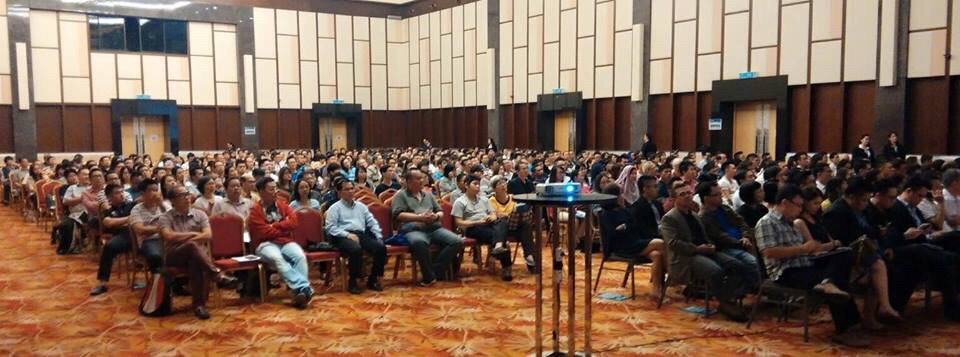 "A large friendly and participative audience from Kuching listens attentively during Janice's session on ""Voice Out!"""